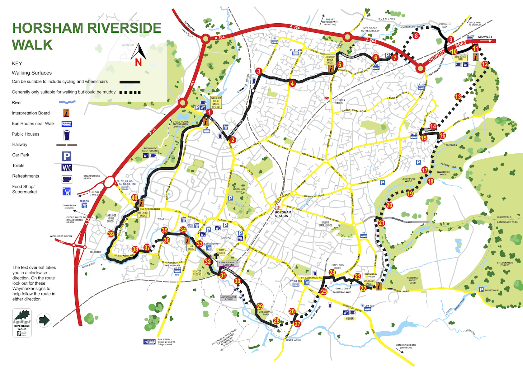 Horsham Riverside Walk Map 2018