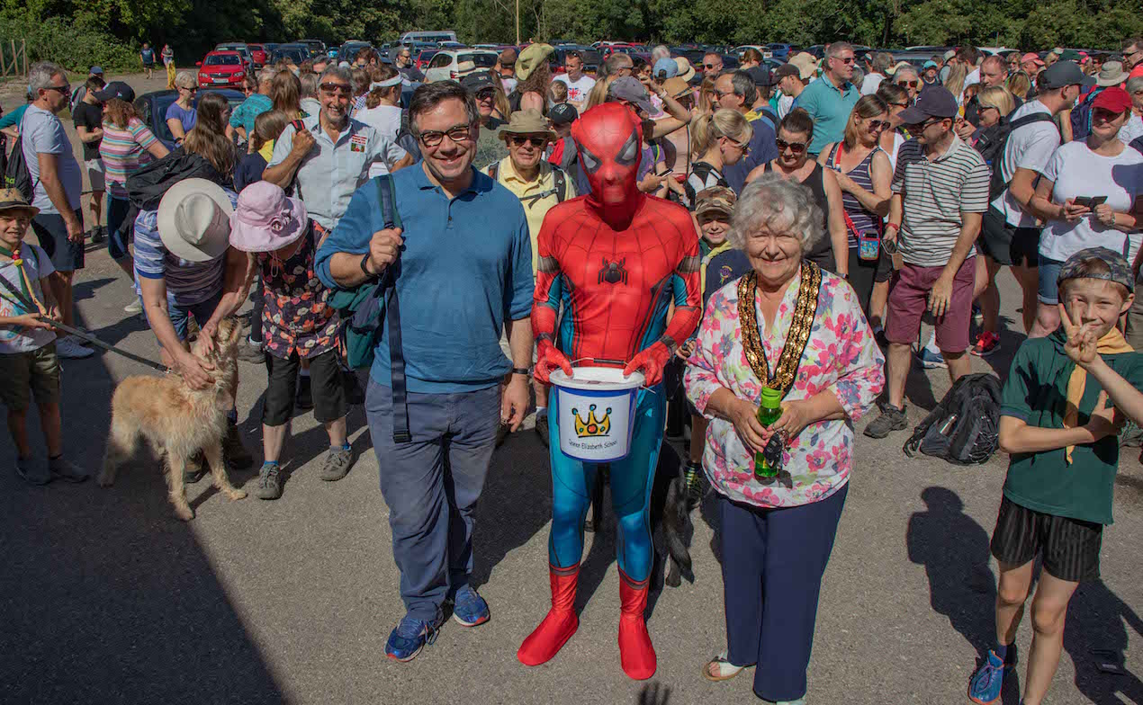 Jeremy Quin MP, Spider-Man and Kate Rowbottom, Chair of HDC, at start of 2019 Riverside Walk