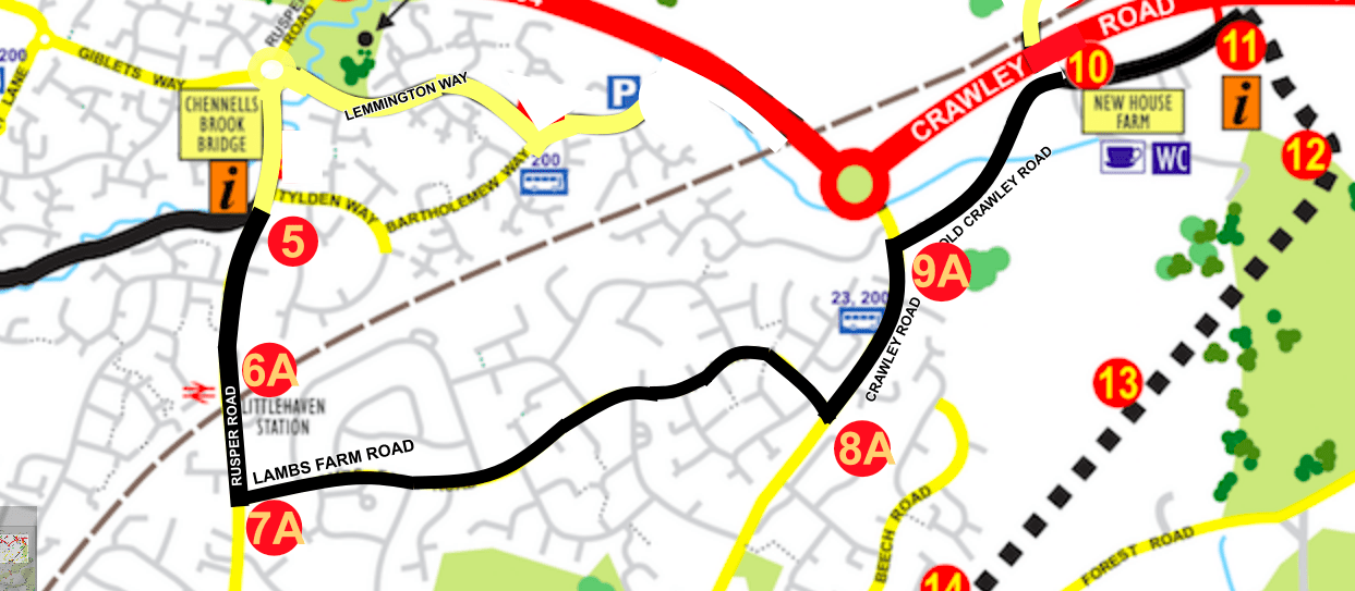 Alternative route from Channels Brook Bridge to New House Farm