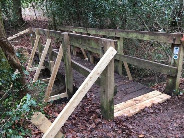 Repair to footbridge near Hammerpond Road.