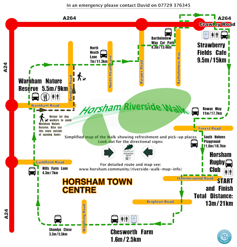 Simplified Horsham Riverside Walk Map